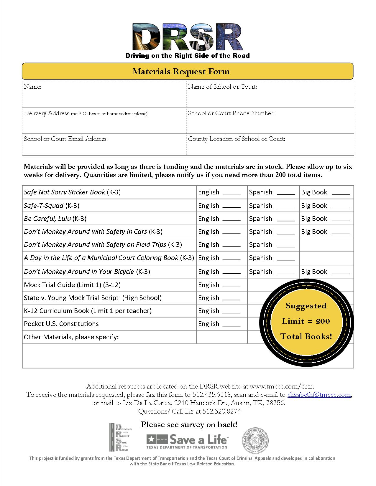 TMCEC Materials Request Form for Community Outreach – Request Form