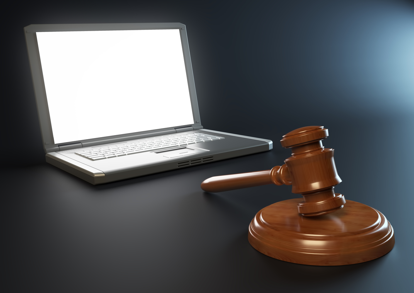 Laptop with gavel